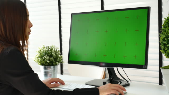 Using computer with Chroma key video