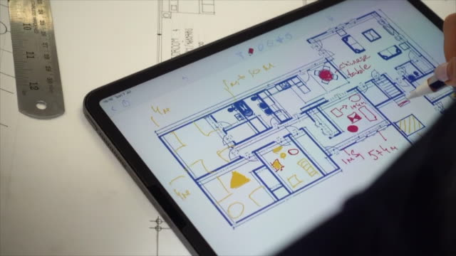 Using digital tablet to plan interior design Thailand,Interior Designer, Home Showcase Interior, Augmented Reality, Customer interior designer stock videos & royalty-free footage