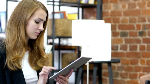 Using Tablet at Work, Cute Beautiful Girl video