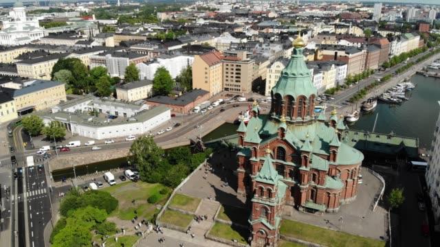 uspenski-katedralen i helsingfors - drone helsinki bildbanksvideor och videomaterial från bakom kulisserna