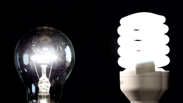 vídeos de stock, filmes e b-roll de normal e economia de energia com luminárias - arméria
