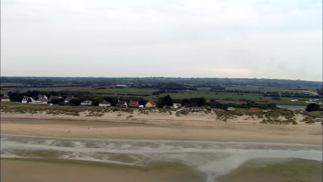 Utah Beach  - Aerial View - Lower Normandy, Manche, France Low over Urtah beach with milky sun normandy stock videos & royalty-free footage