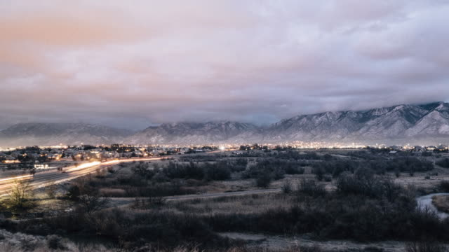 utah cloudy morning timelapse - salt lake stan utah filmów i materiałów b-roll