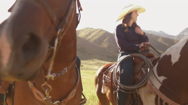 Utah cowgirls on horses Group of young cowgirls  on horses, in the open field outside Salt Lake City, UTAH. cowgirl stock videos & royalty-free footage