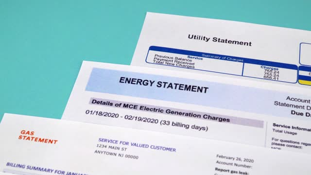 Utility bill payments Communal payments. Pie charts gas and electric supply record in the utility bill. Close-up bills and taxes stock videos & royalty-free footage