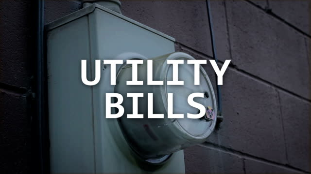 Utility Bills Concept peace - Typography over Generic Gas Meter video