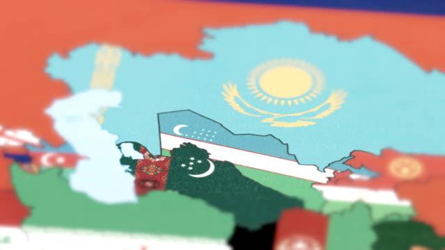 Uzbekistan Borders wiht National Flag on World Map tracking to Uzbekistan Borders wiht National Flag on World Map turkmenistan stock videos & royalty-free footage