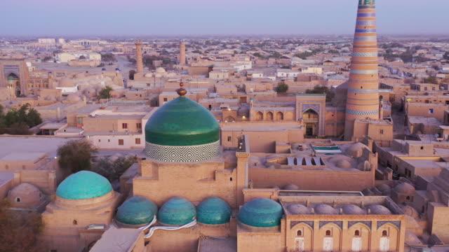 Uzbekistan Khiva Cityscape Sunset Twilight Aerial 4K Drone Flight