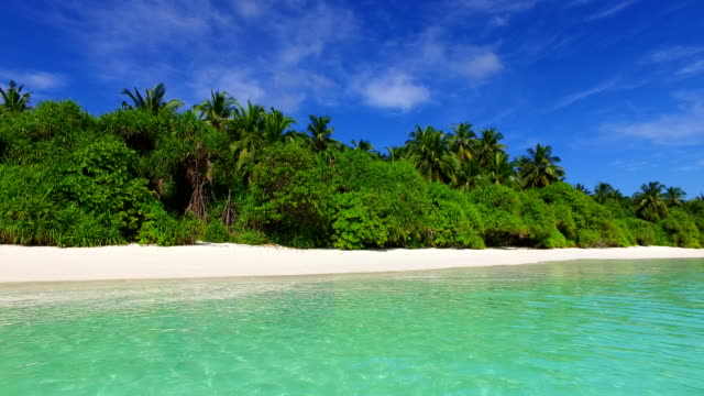 v01148 Maldives beautiful beach background white sandy tropical paradise island with blue sky sea water ocean 4k video