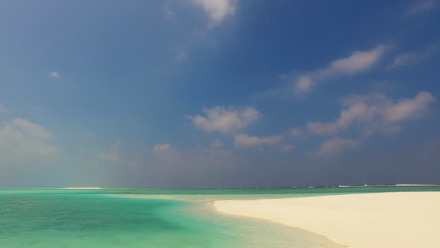 v02448 Maldives beautiful beach background white sandy tropical paradise island with blue sky sea water ocean 4k video