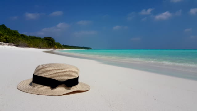 v02467 Maldives beautiful beach background white sandy tropical paradise island with blue sky sea water ocean 4k hat Maldives beautiful beach background white sandy tropical paradise island with blue sky sea water ocean 4k hat indian ocean islands stock videos & royalty-free footage