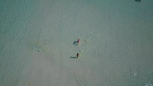 v03815 Aerial flying drone view of Maldives white sandy beach on sunny tropical paradise island with aqua blue sky sea water ocean 4k 2 people young couple man woman playing ball fun together video