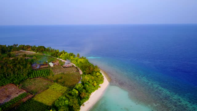 v04351 Aerial flying drone view of Maldives white sandy beach on sunny tropical paradise island with aqua blue sky sea water ocean 4k video