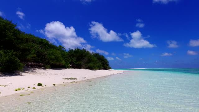 v07067 Maldives white sandy beach clouds on sunny tropical paradise island with aqua blue sky sea ocean 4k video