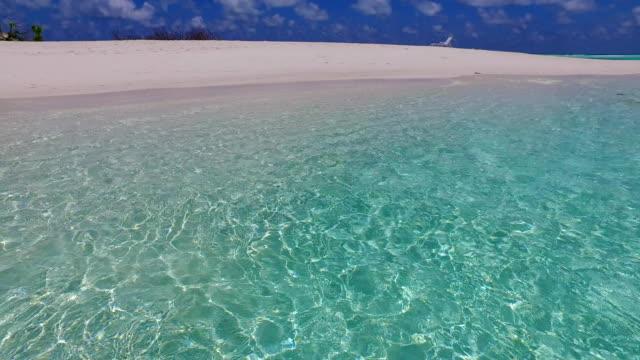 v07087 Maldives white sandy beach clouds on sunny tropical paradise island with aqua blue sky sea ocean 4k video
