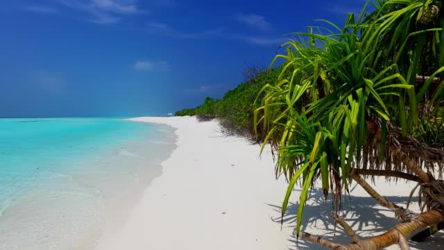 v07751 Maldives beautiful white sandy beach background on sunny tropical paradise island with aqua blue sky sea water ocean 4k video
