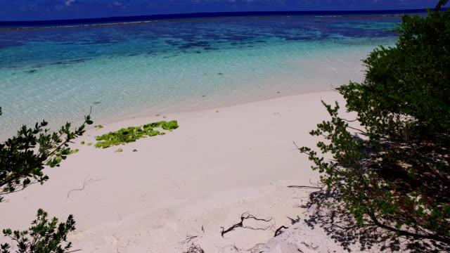 v07819 Maldives beautiful white sandy beach background on sunny tropical paradise island with aqua blue sky sea water ocean 4k video
