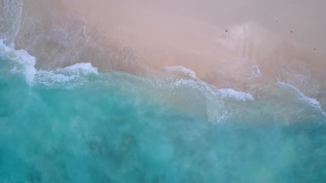 v14317 waves water texture breaking and crashing with drone aerial flying view of aqua blue and green clear sea ocean