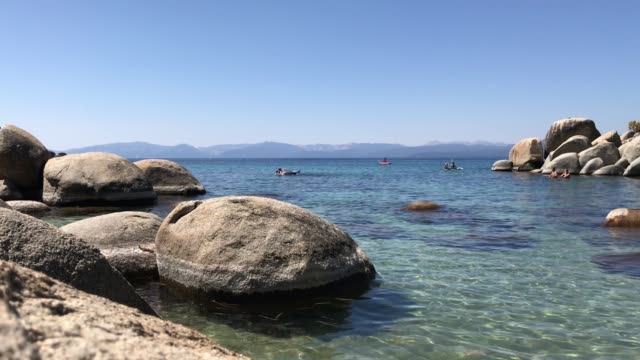 Vacationers Swim at Lake Tahoe