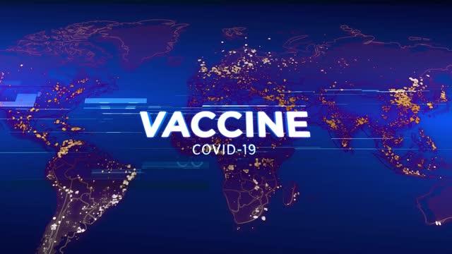 4k вакцина covid-19 - медиа тв анимация графический фон. концепция дизайна вещания. коронавирус распространяется по всему миру - covid vaccine стоковые видео и кадры b-roll