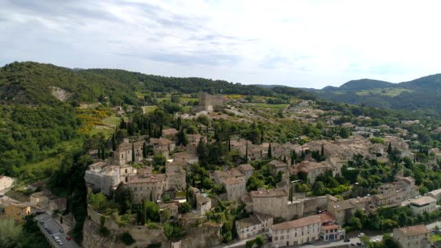Vaison-la-Romaine, aerial approach, Vaucluse, France Phantom 4 PRO - 4K high quality drone provence alpes cote d'azur stock videos & royalty-free footage