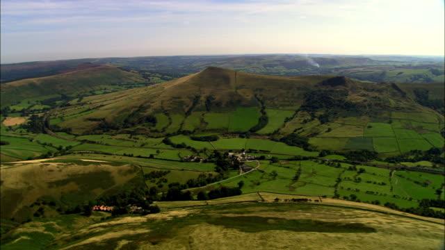 Vale Of Edale  - Aerial View - England, Derbyshire, High Peak District, United Kingdom video