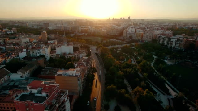 Valencia at sunset, aerial view video