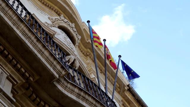 Valencia flag, Spain flag and European Union flag - Stock Video