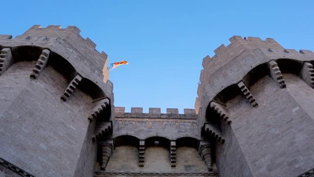 Valencia The Serrans Gate or Serranos Gate, in Spain - Stock Video Valencia fort flag sorpresa stock videos & royalty-free footage