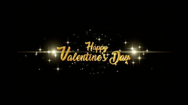バレンタイン日美しい黄金黄金の花火の背景を持つ粒子を点滅からテキストの外観のご挨拶します。 - バレンタイン点の映像素材/bロール