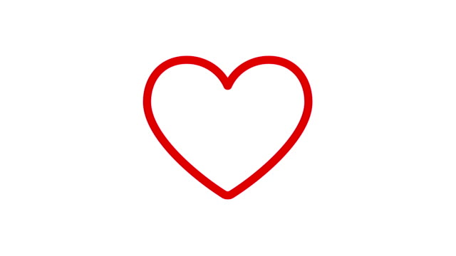 Valentine Heart Drawn by Red lines. Valentine Heart Drawn by Red lines. Heartbeat cartoon flat animation in 4K isolated on white background. heart stock videos & royalty-free footage
