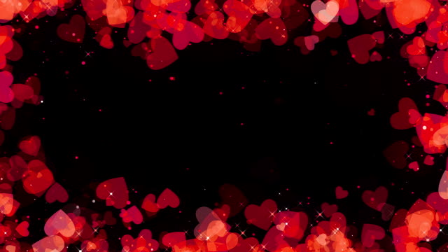 valentine red hearts frame background, looped - valentines day stock videos and b-roll footage