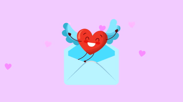 valentines card with love heart in envelope character video