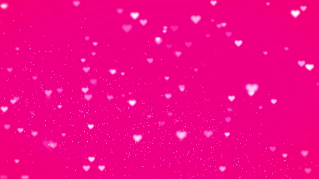 Valentine's day abstract background, flying hearts with pink background video