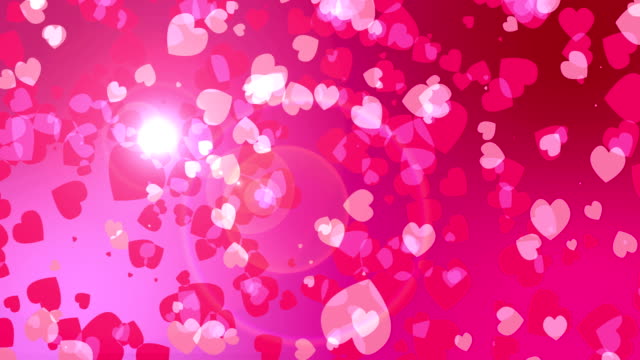 Valentine's day abstract background,flying hearts and particles. video
