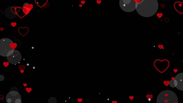 Valentine's day animated frame of hearts for overlay on video. Greeting love frame of hearts. Festive border decoration of bokeh, sparkles, hearts for valentine's day. Seamless loop