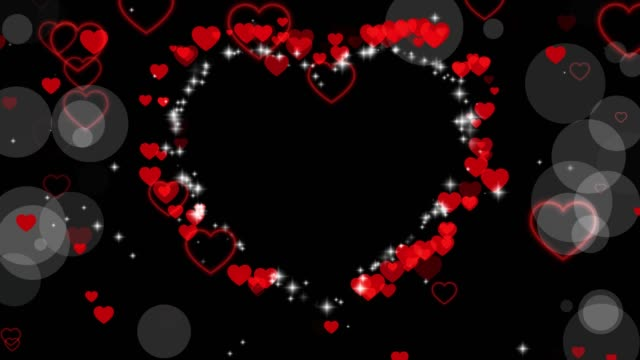 Valentine's day animated frame of hearts for overlay on video. Greeting love frame of hearts. Place for text. Festive border decoration of hearts, bokeh, for valentine's day. Seamless loop