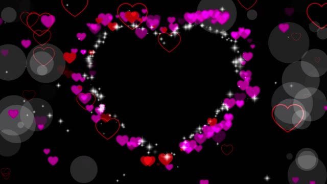 Valentine's day animated frame of hearts for overlay on video. Greeting love frame of hearts. Festive border decoration of hearts, bokeh, for valentine's day. Place for text. Seamless loop