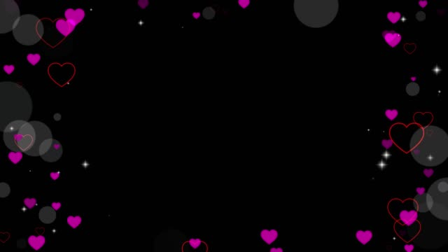 Valentine's day animated frame of hearts for overlay on video. Love heart frame. Festive border decoration of bokeh, sparkles, hearts for valentine's day. Greeting card. Seamless loop