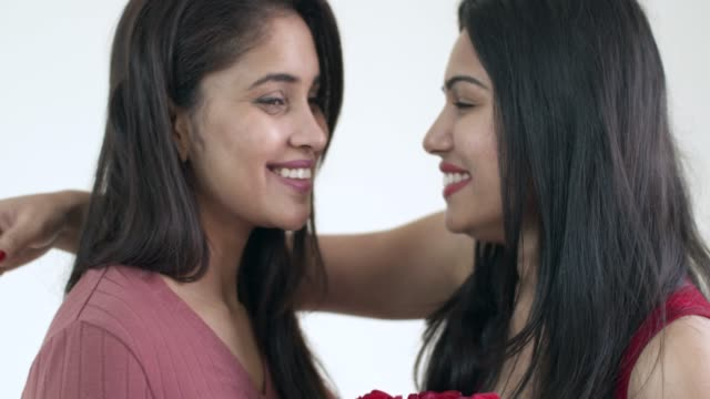 Valentine's Day celebration with young Indian lesbian couple