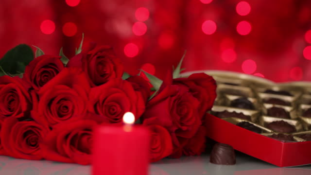 valentine's day chocolates, roses and candles - valentines day stock videos and b-roll footage