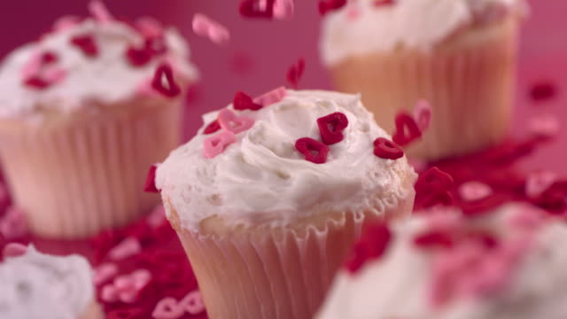valentine's day cupcakes,  slow motion - valentines day stock videos and b-roll footage