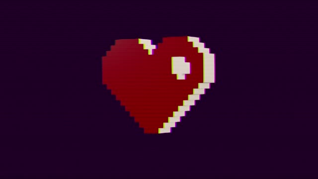 Valentine's Day, heart animation, 80s, 8-bit television game console