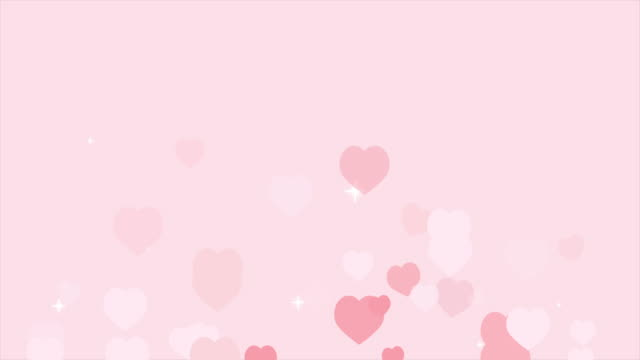 san valentino i cuori rosa isolati su sfondo rosa si spostano verso l'alto. animazione video 4k - carino video stock e b–roll