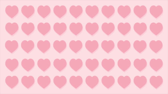 vídeos de stock e filmes b-roll de valentine's day pink hearts isolated on pink background move up and move down. animation 4k video - padrão repetido