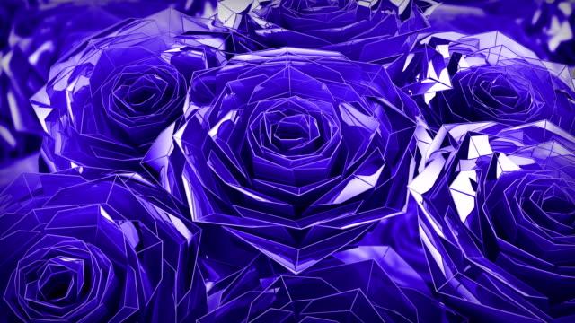 Valentine's Day Purple roses polygonal animation, closeup 4K video