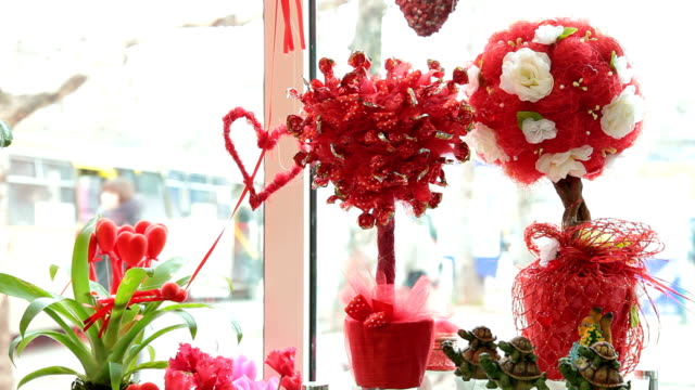 Valentines Day Window Display Decoration Closeup video
