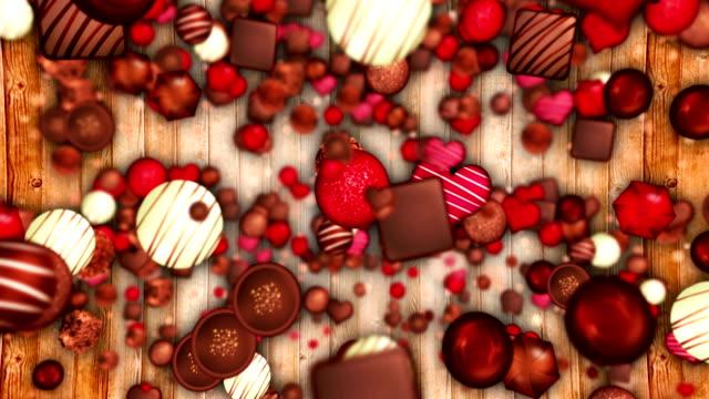 バレンタインの日、高級チョコレート、ループの品揃え - バレンタイン チョコ点の映像素材/bロール