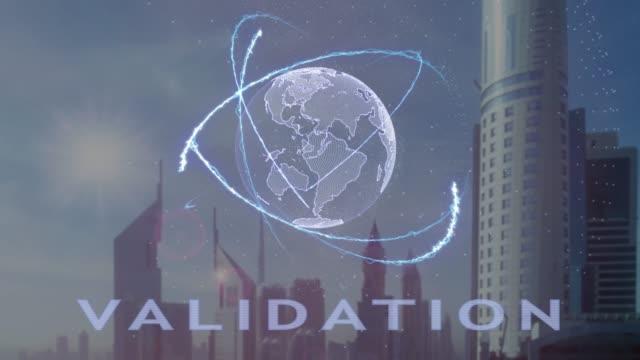 vídeos de stock, filmes e b-roll de texto de validação com holograma 3d do planeta terra contra o pano de fundo da metrópole moderna - validação