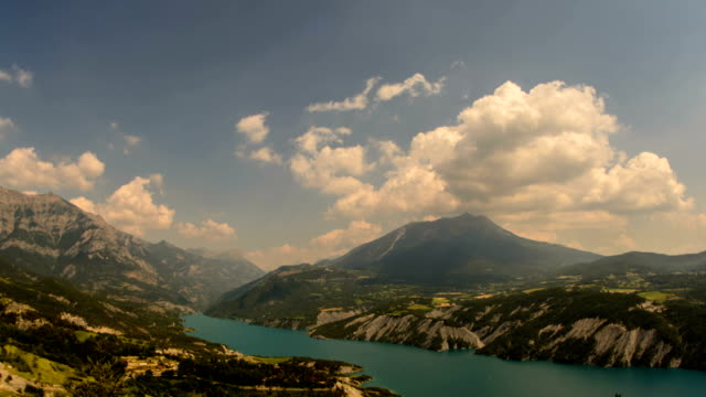 valle de ubaye lake and provence alps summer - hautes alpes stock videos & royalty-free footage